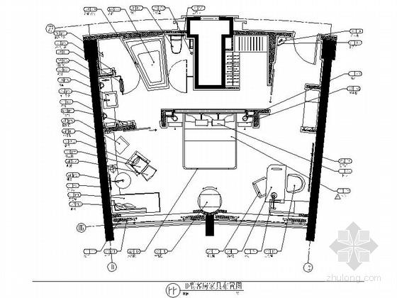 [北京]豪华酒店D户型客房装修施工图