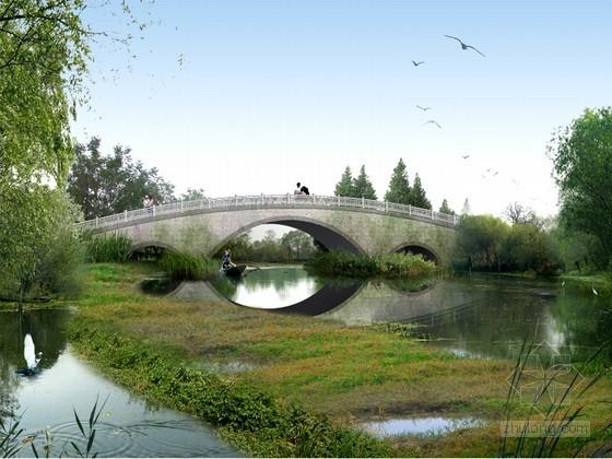 河道拱桥PSD分层素材下载