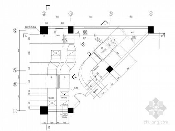 办公楼风冷热泵系统及机房详细大样图