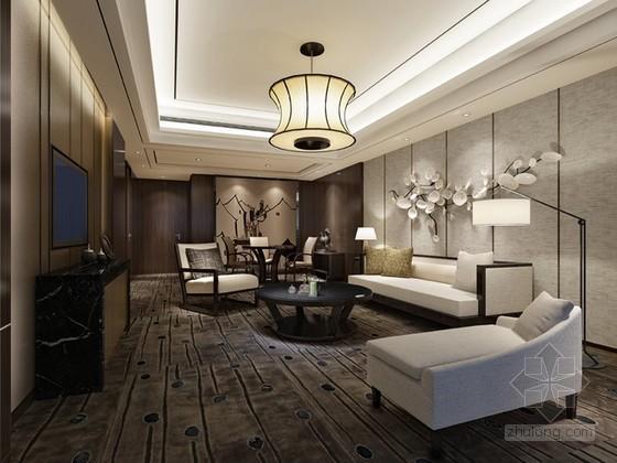 现代中式简约风格客厅3d模型下载
