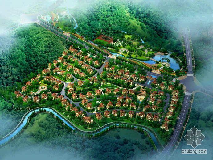 [成都]某地中海西班牙式风格山地住宅区建筑规划设计分析