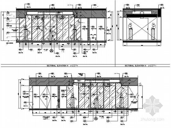 [北京]东三环CBD全球控股超五星级高端豪华白金酒店施工图(含效果)电梯大堂立面图