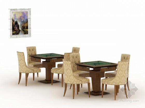 麻将桌组合3d模型下载