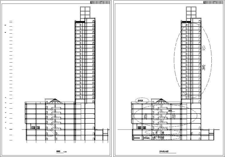 3套商住综合楼建筑设计施工图CAD-现代高层商住综合楼建筑设计剖面图