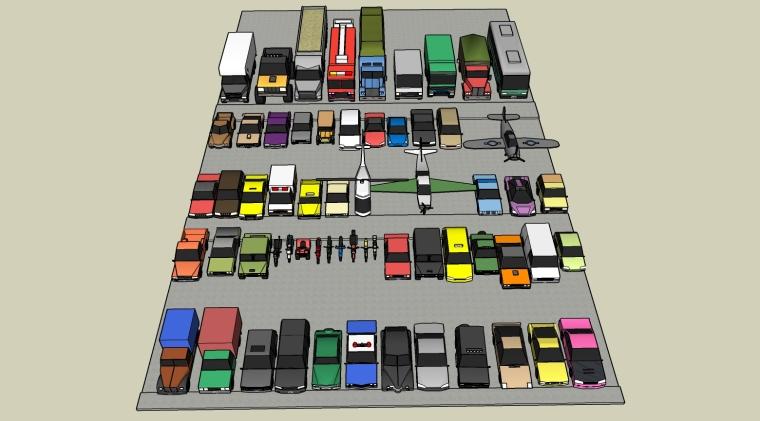 停车场su模型,车su模型,飞机su模型