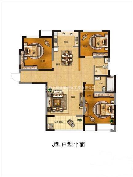富田九鼎世家128平三室两厅美式温馨效果图