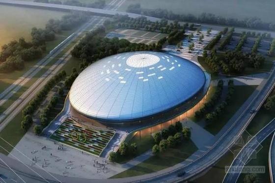 [吉林]6018座钢桁架中央索承网壳组合屋架体育馆建筑结构施工图