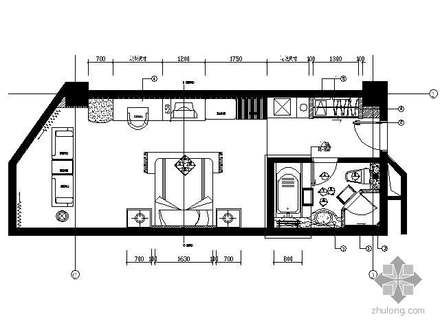 海口国际酒店标准间施工图(单床)