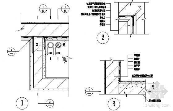 阳台、阳台压顶与外墙交接部位构造图
