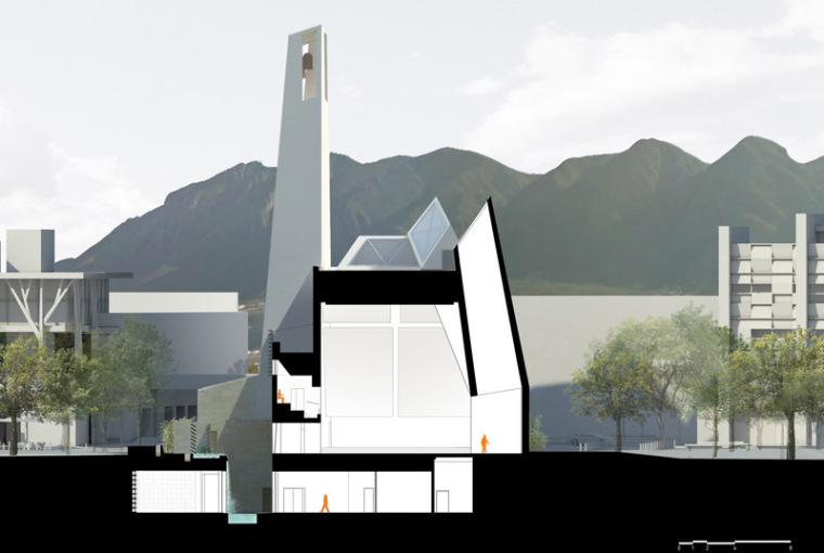 墨西哥教堂:剖面图