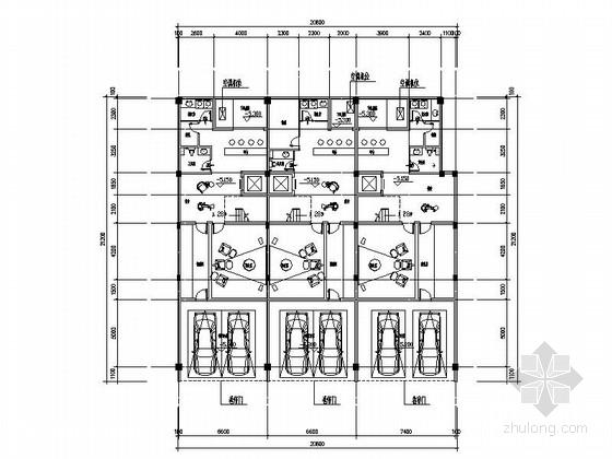 [四川]三层阶梯状别墅建筑施工图(含多套方案)-三层阶梯状别墅建筑首层平面图