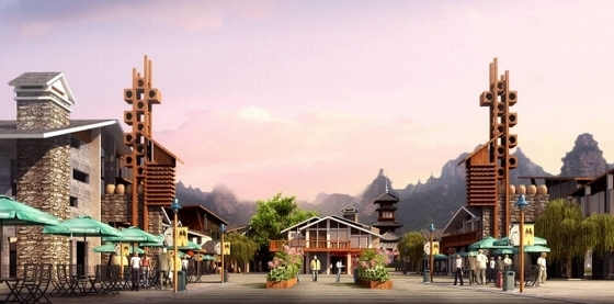 [湖南]风情古街景观规划设计方案-入口效果图
