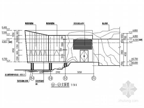[四川]200平米小型茶室建筑设计施工图纸-200平米小型茶室立面图