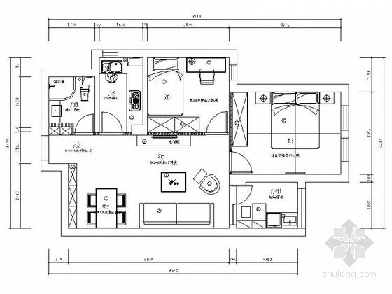 [宁波]姚江官邸雅致现代两居室装修施工图