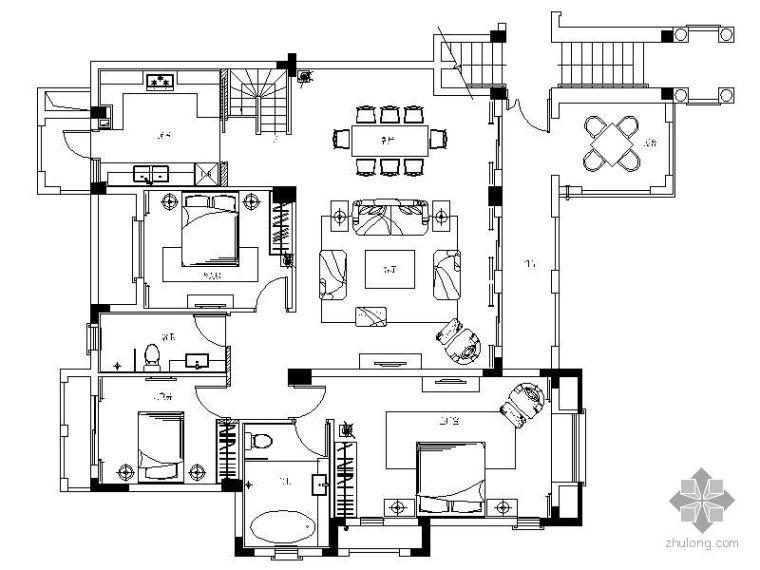 [成都]中西合壁风格示范户型施工图
