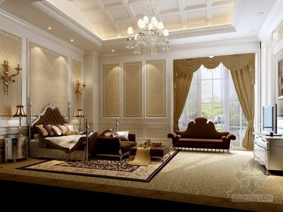 欧式豪华风格卧室3d模型下载