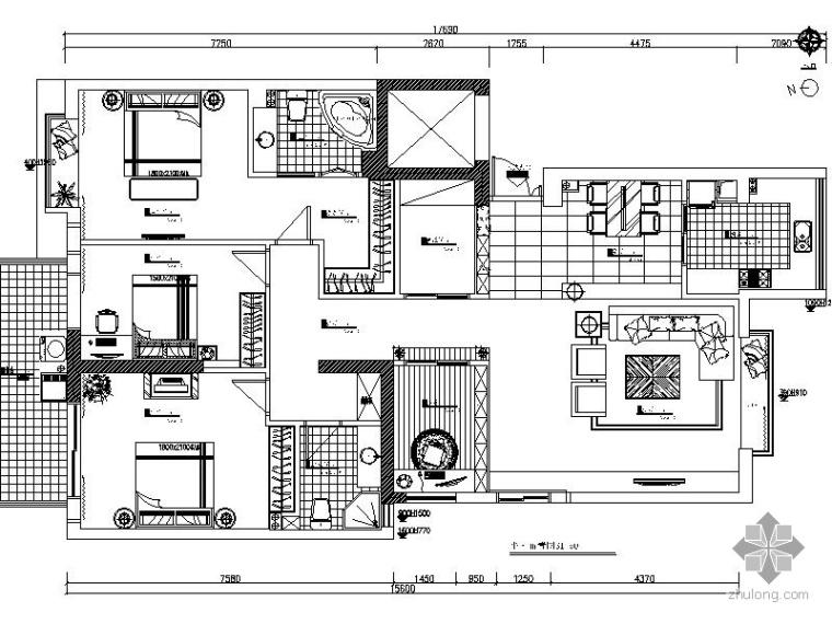 现代三房二厅豪华家装图