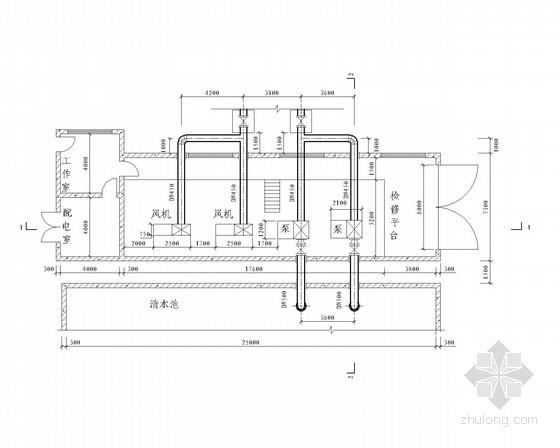 [中山]某水厂给水工程扩初设计大样图(泵房、清水池、加药间)