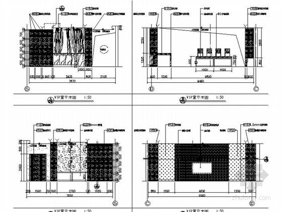 [天津]国际化金融股份制公司现代办公楼装修施工图(含实景及报价表)vip室立面图