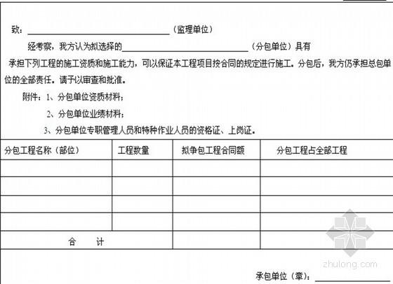 [浙江]房建工程监理工作基本表式 36张(施工阶段)