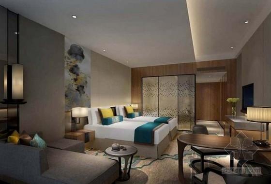 [杭州]国内顶级都市现代国际会议型酒店艺术品设计方案双床房效果图