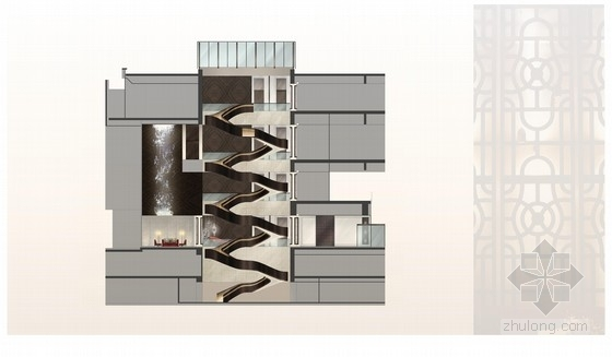 [上海]精品奢华雅致古典风格宾馆室内装饰设计方案-[上海]奢华雅致古典风格宾馆室内装饰设计方案楼梯立面图
