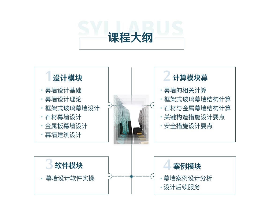 幕墙设计课程额大纲包括设计模块、就算模块、软件模块、案例模块,幕墙设计基础、幕墙设计理论、框架式玻璃幕墙设计、框架式玻璃幕墙结构计算、石材幕墙设计、金属板幕墙设计、石材与金属幕墙结构计算、幕墙设计软件介绍、幕墙设计案例,适合幕墙设计入入门级新手。