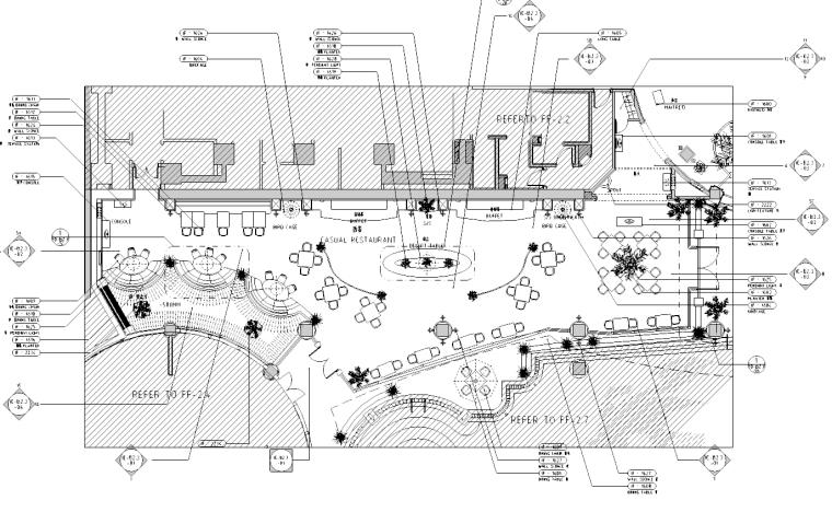 [北京]棕榈泉会所西餐厅施工图
