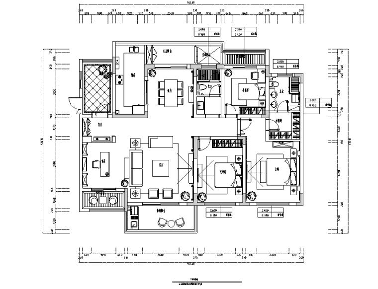 滨湖假日美式风格四居室住宅设计施工图(附效果图)