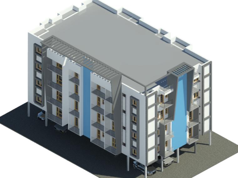 BIM模型-revit模型-四层公寓模型