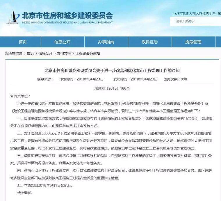 重磅!北京部分项目不再强制监理,建设单位自担责任!