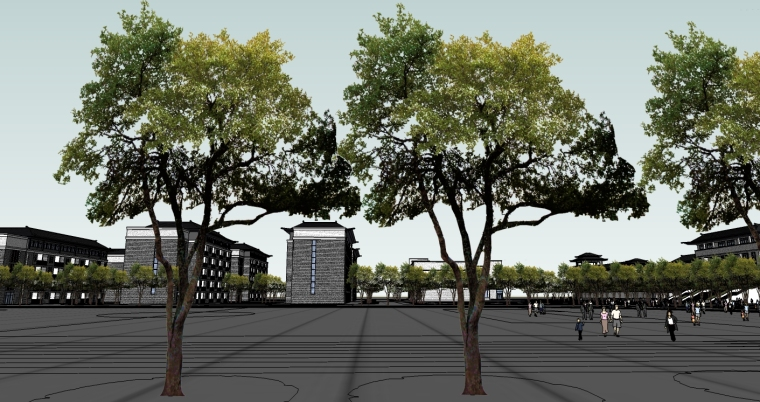 中式风格中学建筑设计SU模型_6