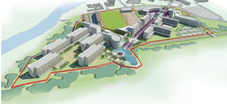 [河南]小清新风格清华园完全中学建筑规划方案文本(含四套方案)