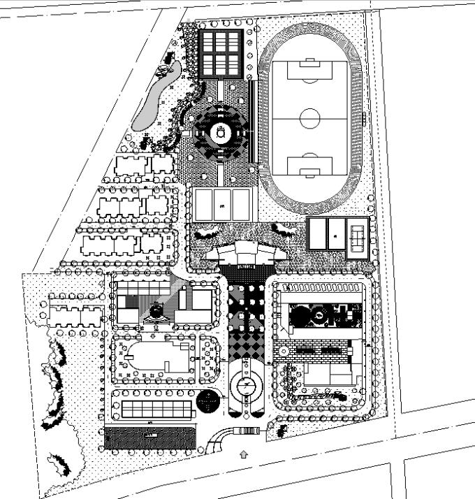 [合集]校园绿地景观规划设计CAD平面图41套-职业中等院校景观设计平面图