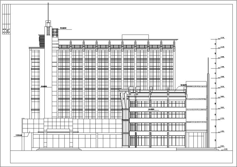 5套商务办公楼建筑设计施工图CAD-现代高层办公综合建筑设计立面图2