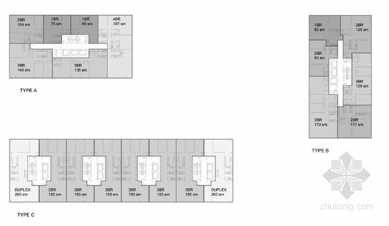 130米超高层城市综合体设计平面图