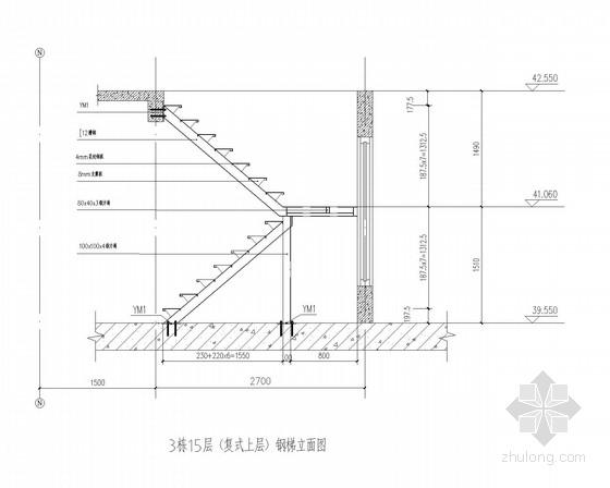 小区住宅新增复式钢楼梯结构施工图