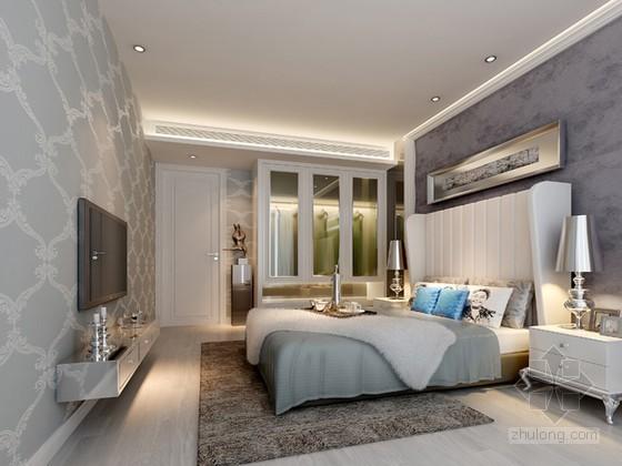白色调清新欧式卧室3D模型下载