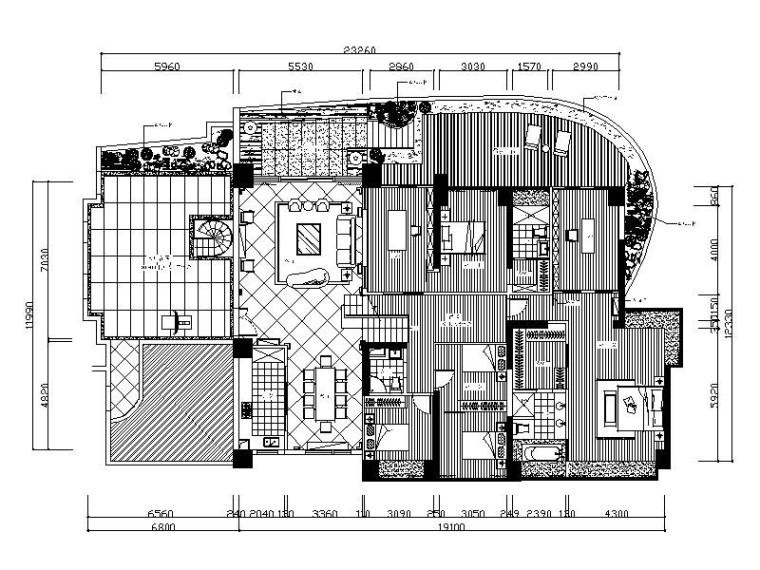 [成都]上市公司设计别墅室内设计施工图(含效果图)