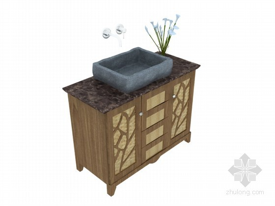 现代洗手台3D模型下载
