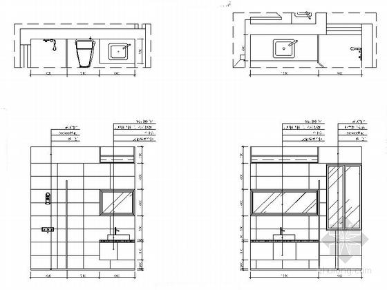 [湖南]高档样板房三居室设计CAD施工图(含效果)卫生间立面图