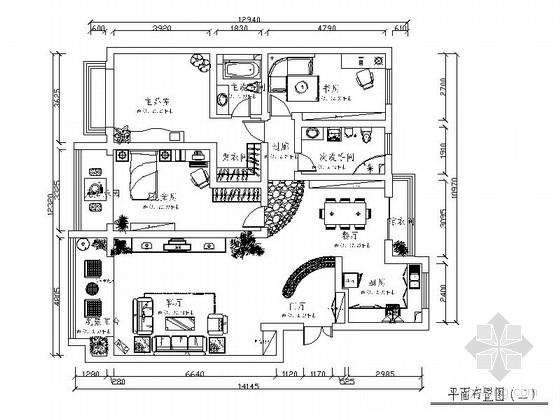 简约时尚现代风格两居室装修图(含效果图)