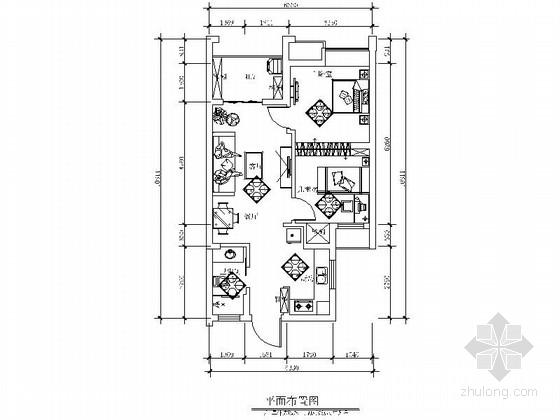 雅致现代风格两居室CAD装修图(含效果)