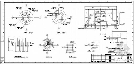 某水塔承台模板、配筋节点构造详图