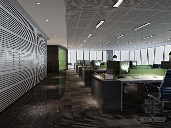 开放式办公空间3d模型下载