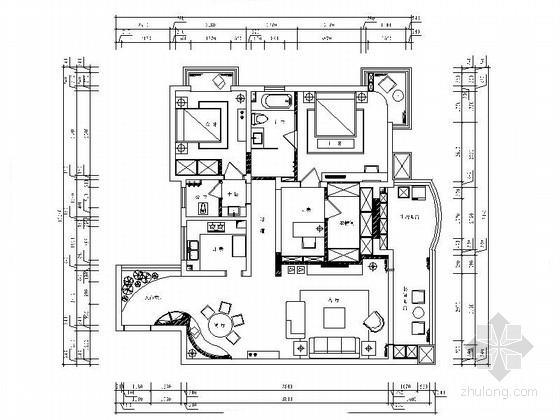 港式现代三居室住宅设计装修图(含效果)