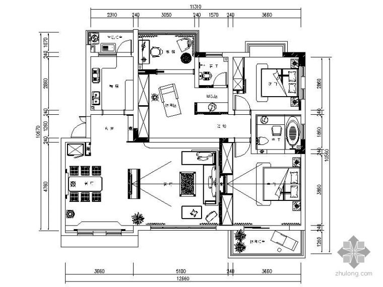 [重庆]120平现代三居室装修图