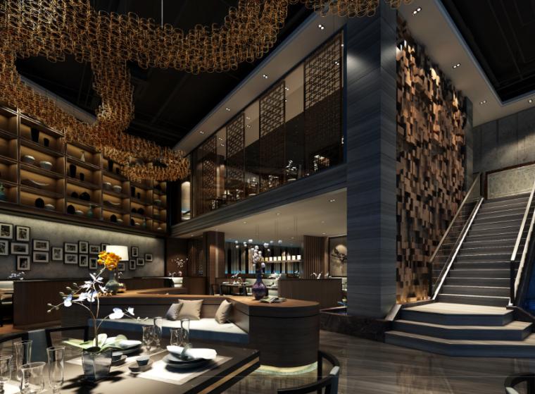 [广东]蓝瑟餐馆室内设计效果图方案