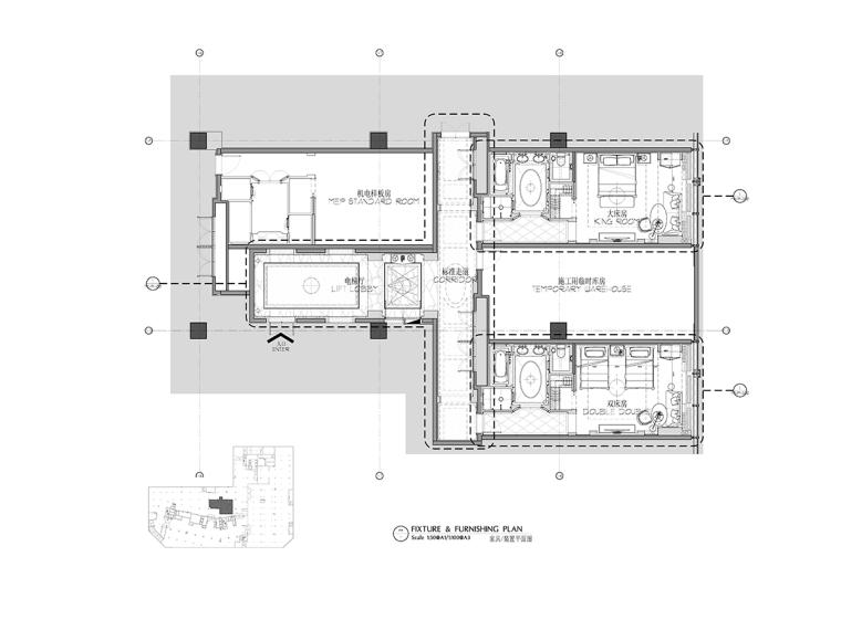 [哈尔滨]Ritz-Carlton富力丽思卡尔顿酒店电梯厅&客房施工图(CAD+PDF)+效果图
