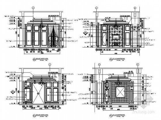 [苏州]奢华欧式风格商务会所七层客房区室内装修图(含效果) 立面